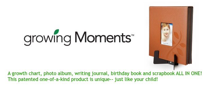 Growing Moments Memory Book, Growth Chart, Scrapbook, and Writing Journal
